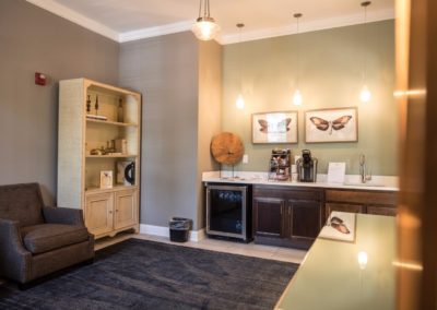 coffee station in the resident lounge at Jacksonville Station's Warminster apartments
