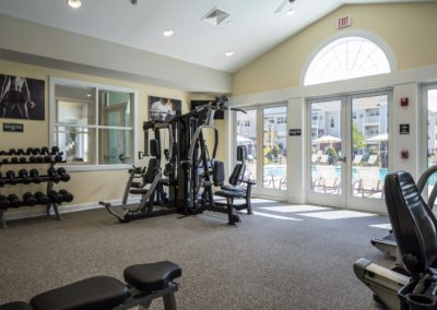 weight equipment in Jacksonville Station's apartment fitness center