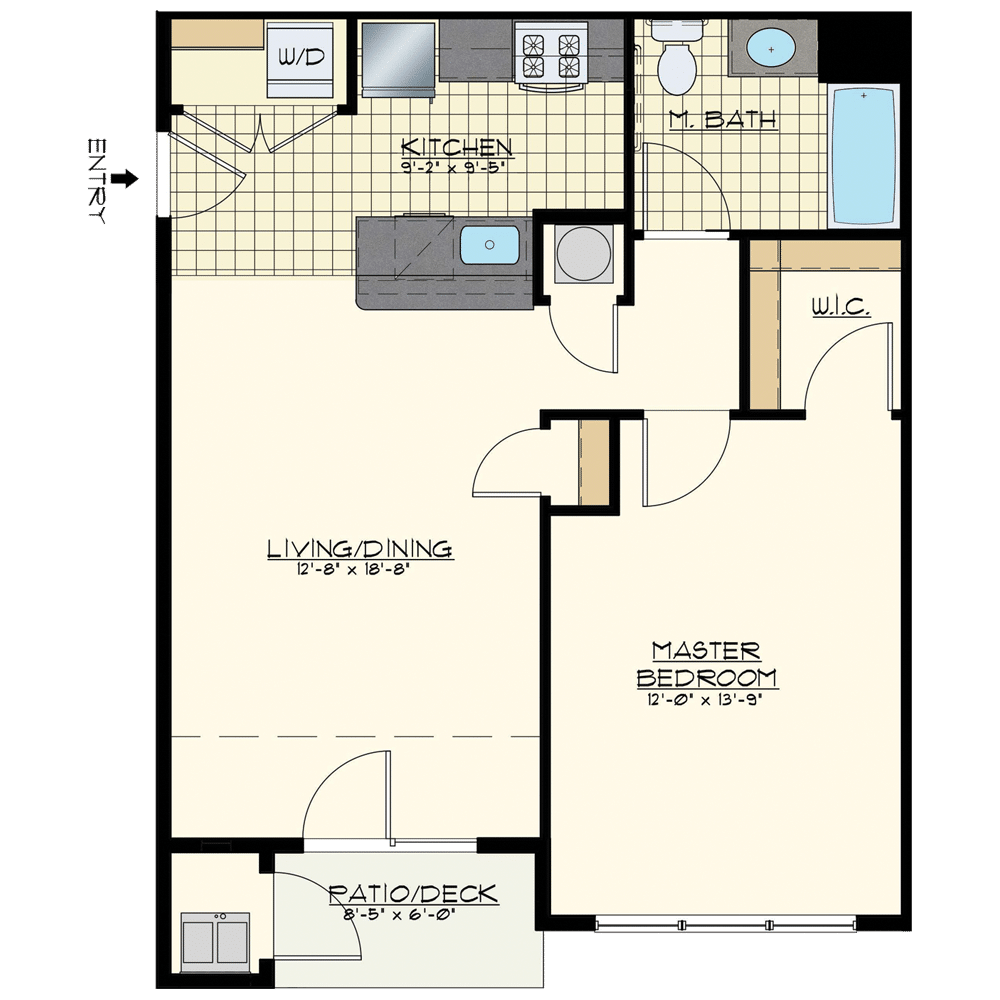 Jacksonville Station One Bedroom Floor Plan Unit Central Pacific