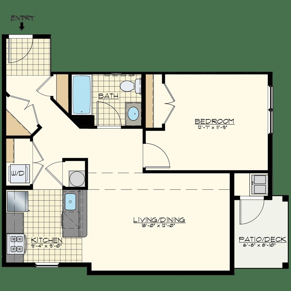 Jacksonville Station One Bedroom Floor Plan Unit Durango