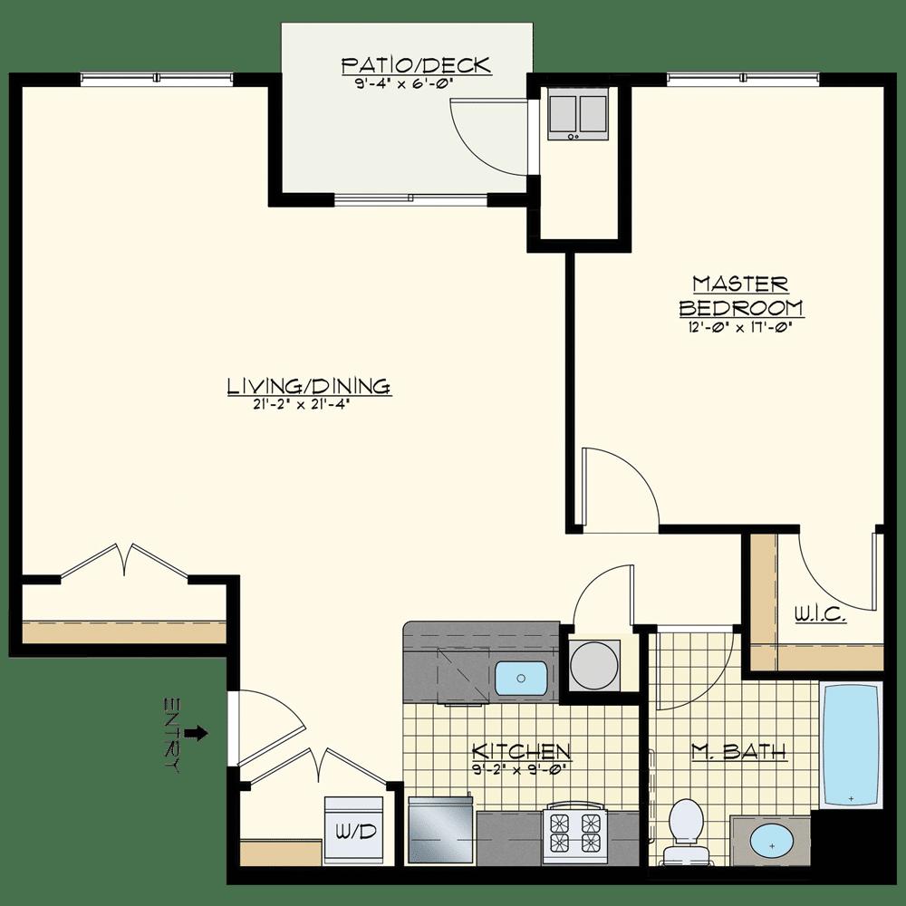 Jacksonville Station One Bedroom Floor Plan Unit Golden Spike Elite