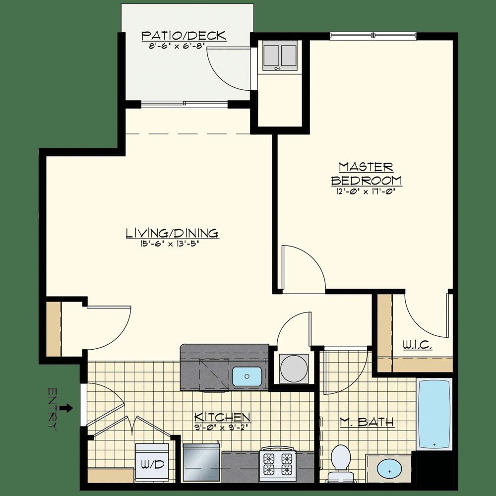 Jacksonville Station One Bedroom Floor Plan Unit Golden Spike