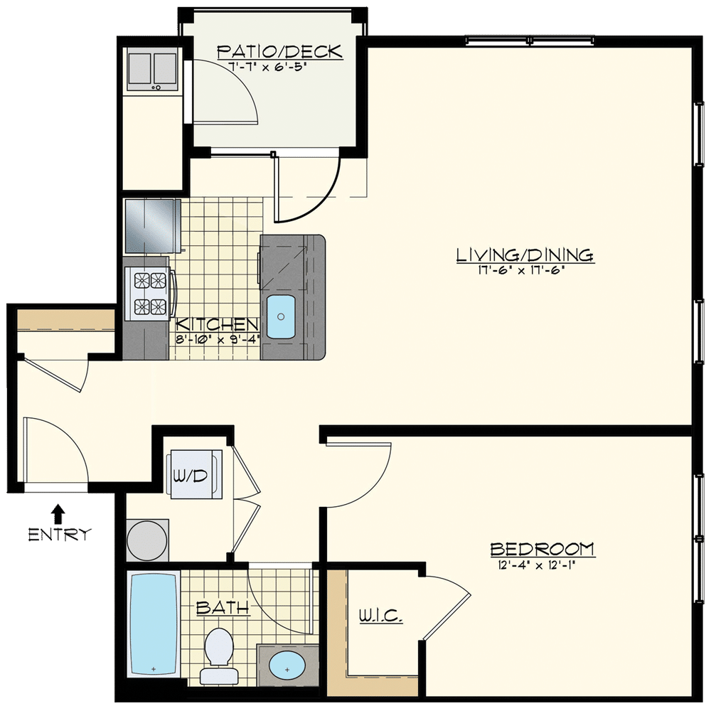 Jacksonville Station One Bedroom Floor Plan Unit Norfolk